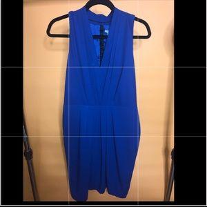 Royal Blue V neck Sheath Dress